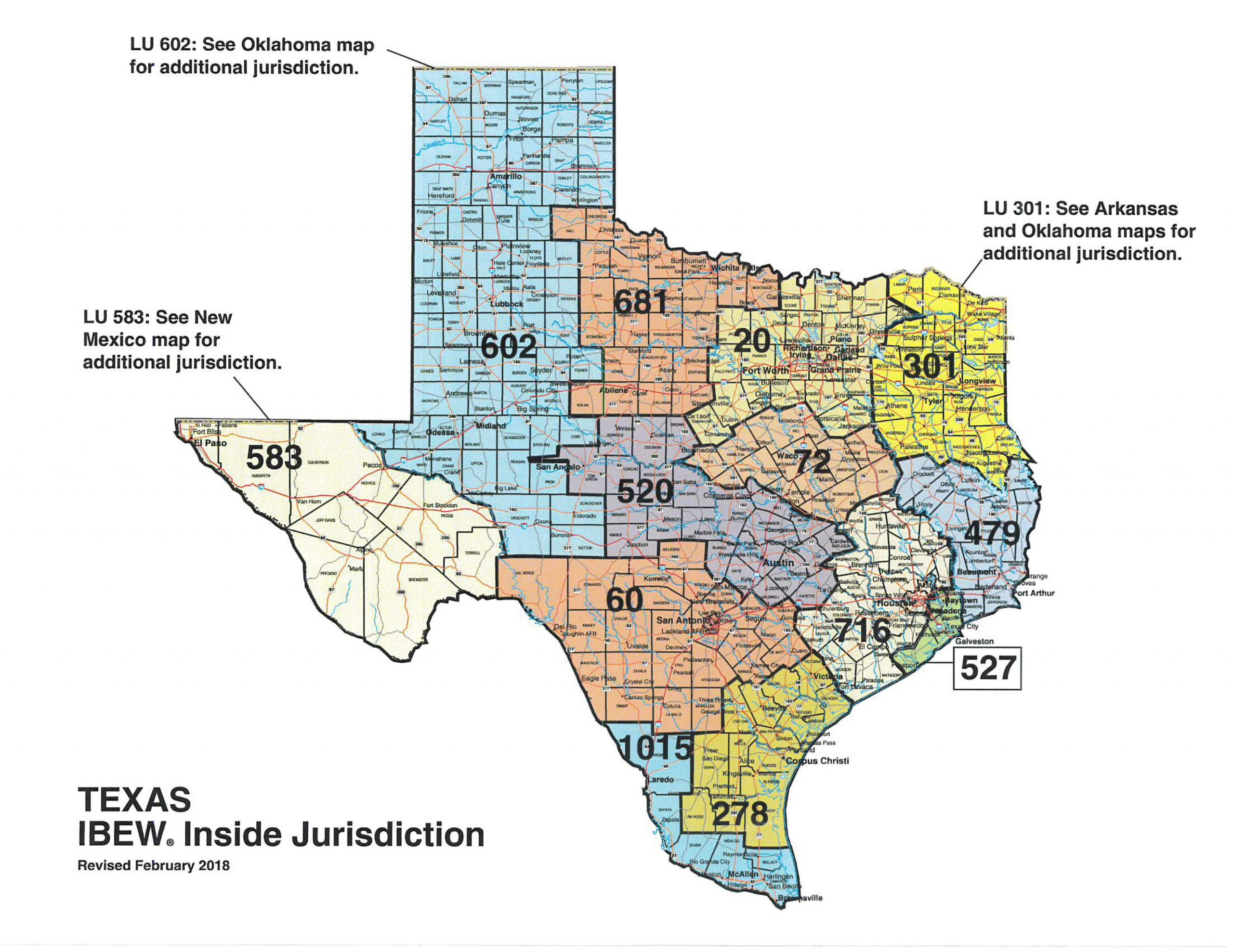 IBEW Local 520 - Electricians - Jurisdictional Map